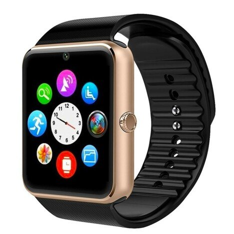 Ceas Smartwatch cu Telefon iUni GT08, Bluetooth, Camera 1.3 MP, Ecran LCD antizgarieturi, Gold